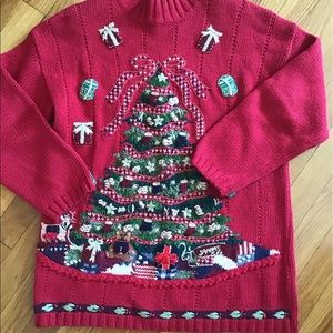 VINTAGE Christmas Sweater size MED red
